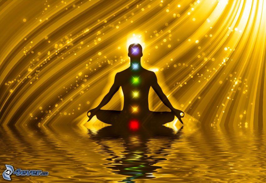 meditation, yellow lines