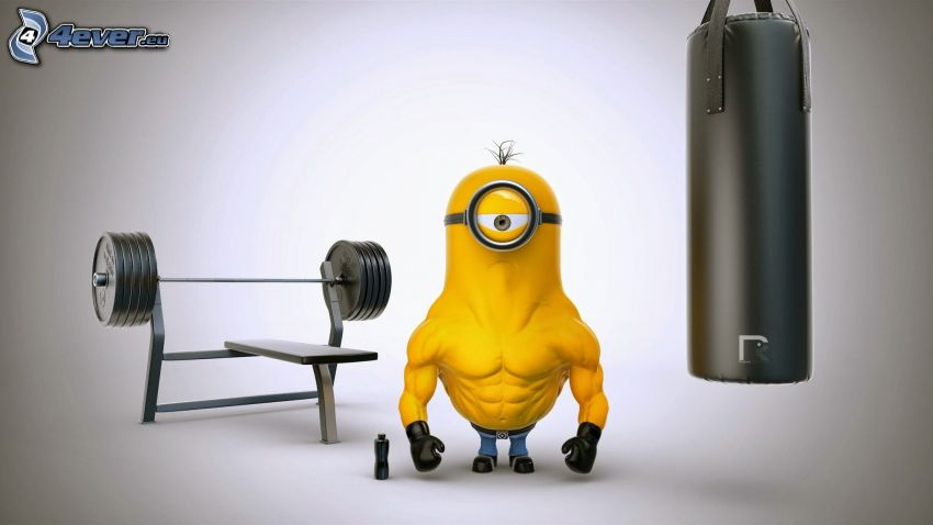 Minion, muscles, dumbbell