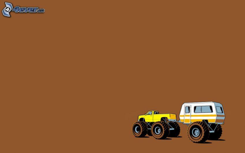 monster truck, trailer, caravan