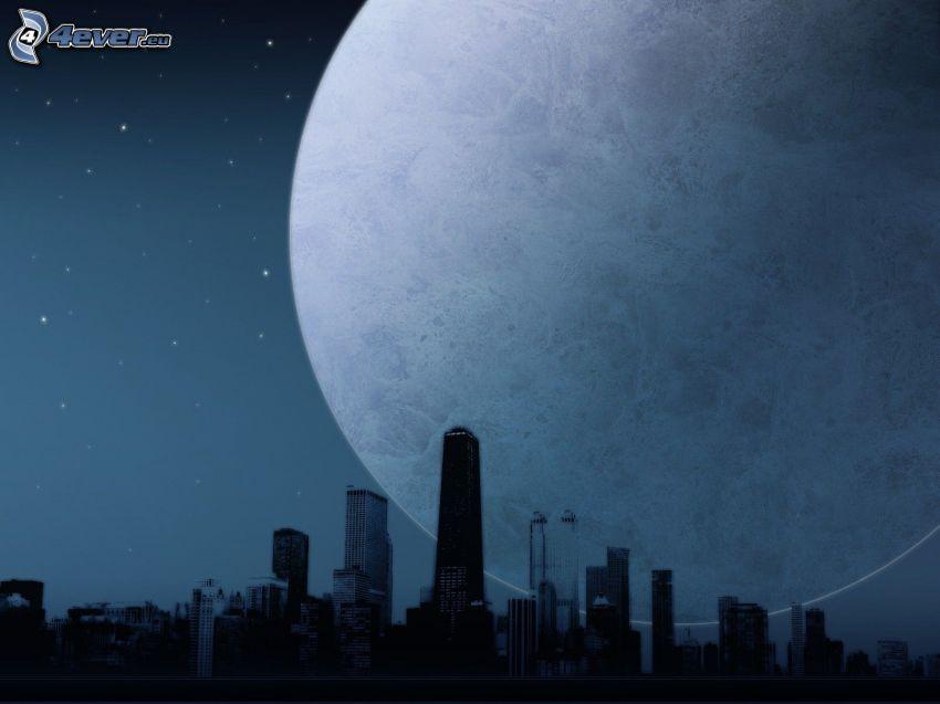 moon, skyscrapers