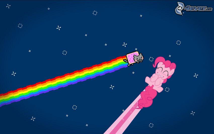 My little pony, cartoon cat, rainbow colors