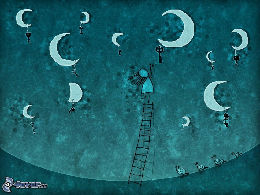 night, moons, keys, cartoon girl, ladder, snails