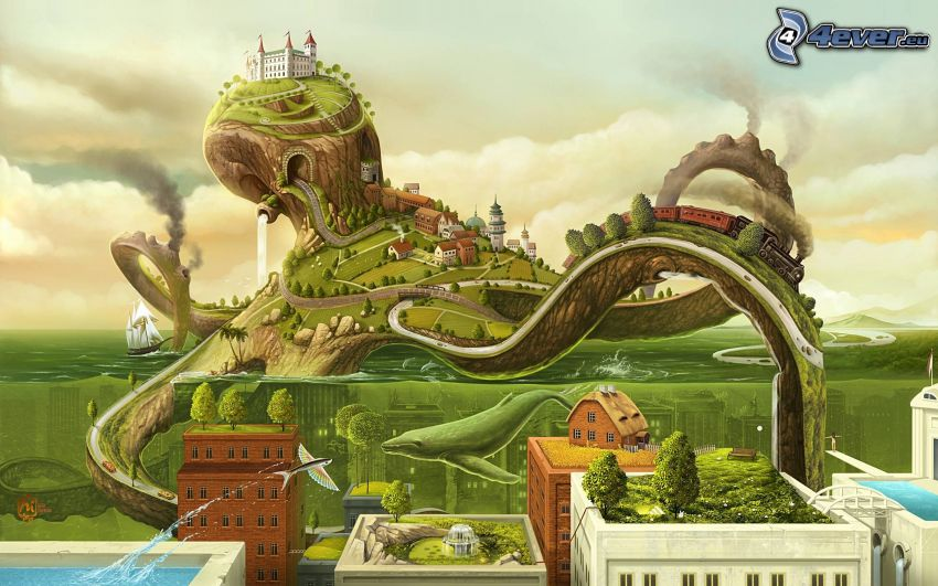 octopus, cartoon landscape, castle, train, houses, water