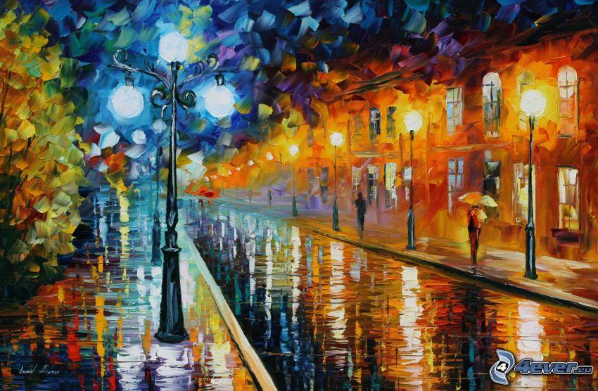 oil painting, street, street lights