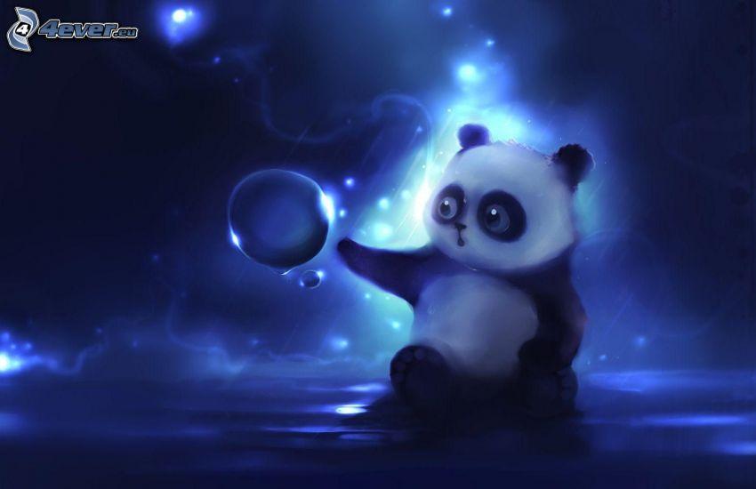 panda, bubble