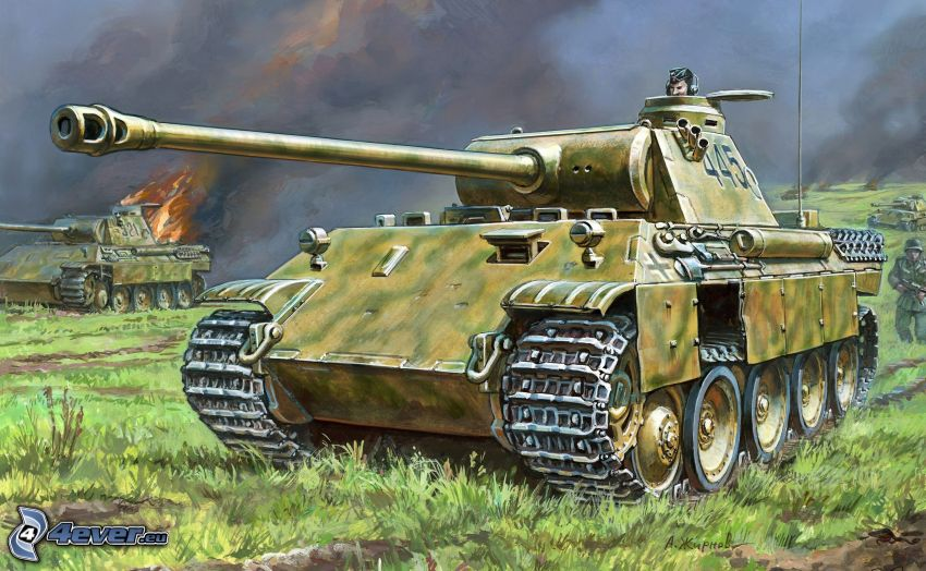 panther, tanks, Wehrmacht