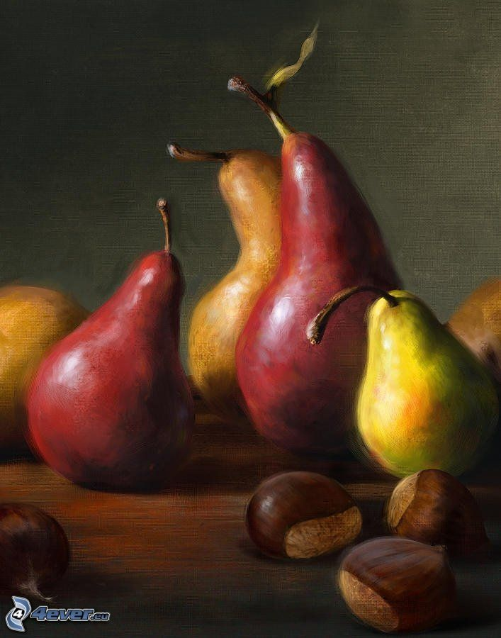 pears, chestnuts, picture