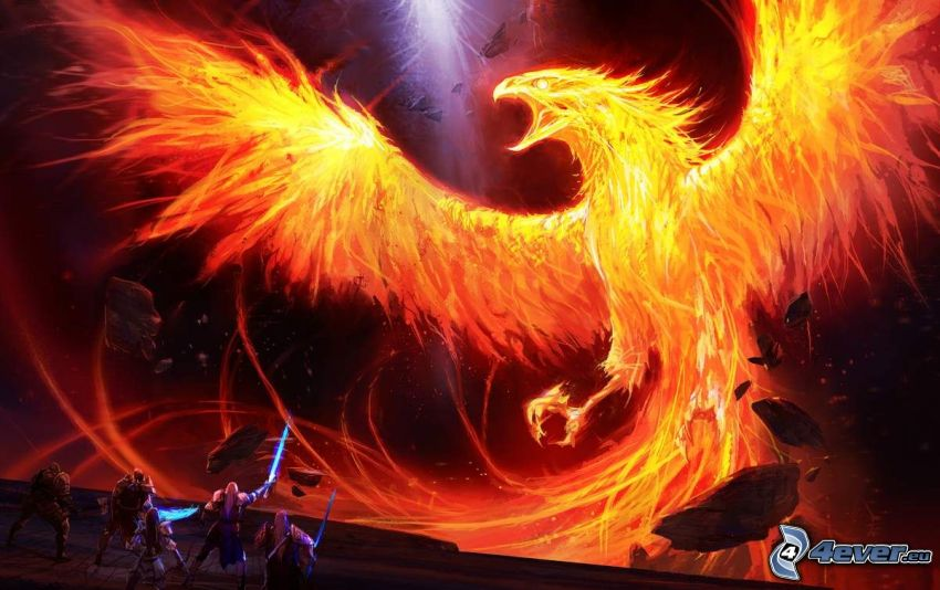 Phoenix, fiery bird, warriors