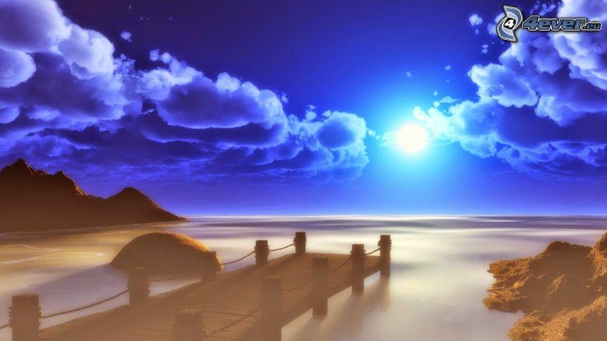 pier, open sea, sun, dark clouds