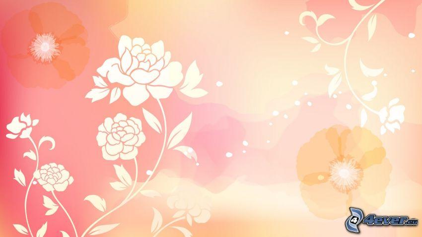 pink background, cartoon flowers