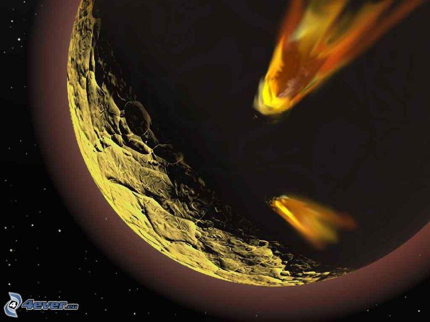 planet, meteorites, sci-fi