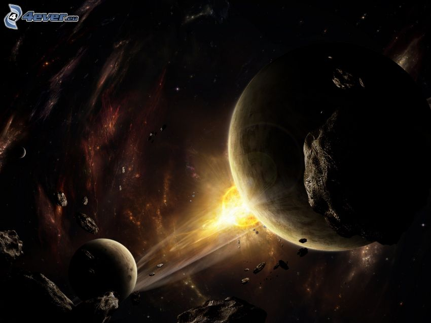 planets, asteroids, space glow