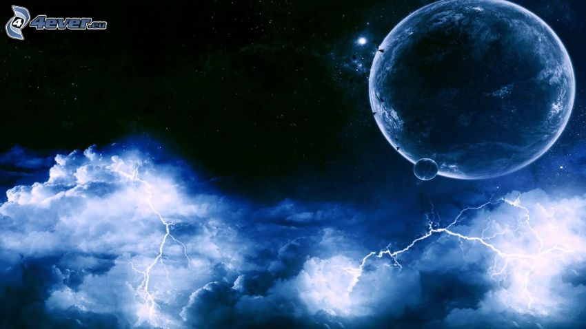 planets, lightning, clouds