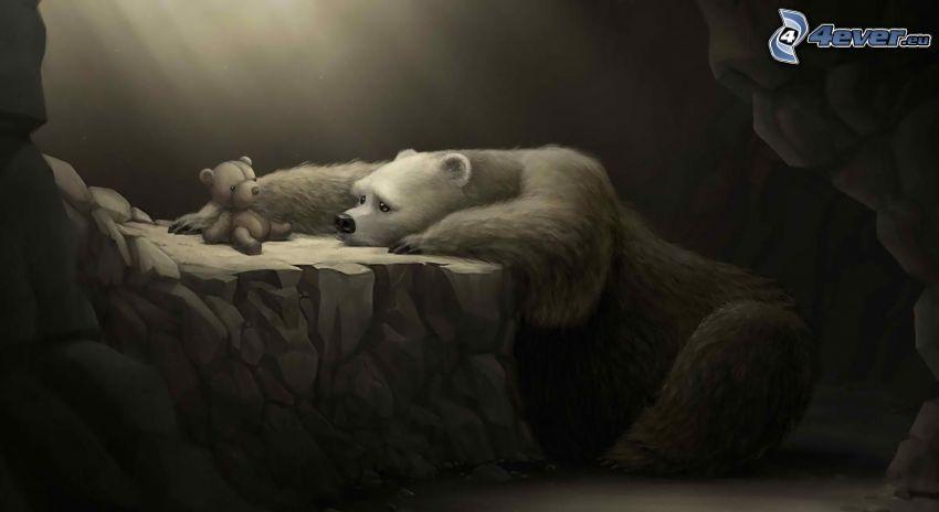 polar bear, sadness, teddy bear, cave, sunbeams