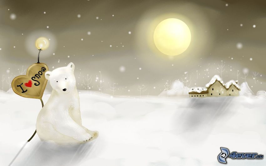polar bear, snowy house, moon, snow