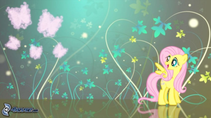 pony, lines, flowers