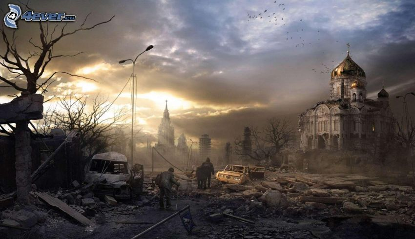 post apocalyptic city, cathedral, war