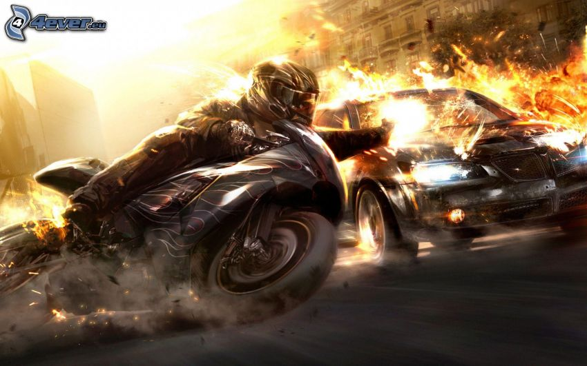 race, moto-biker, car, speed, flame