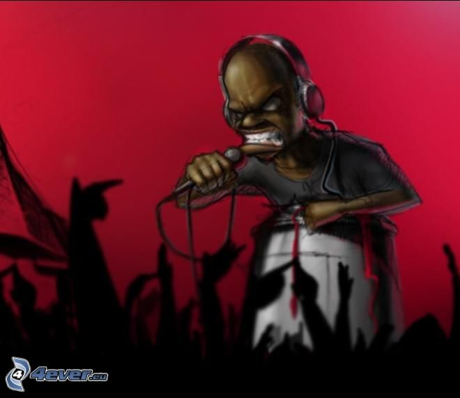rapper, cartoon, silhouette