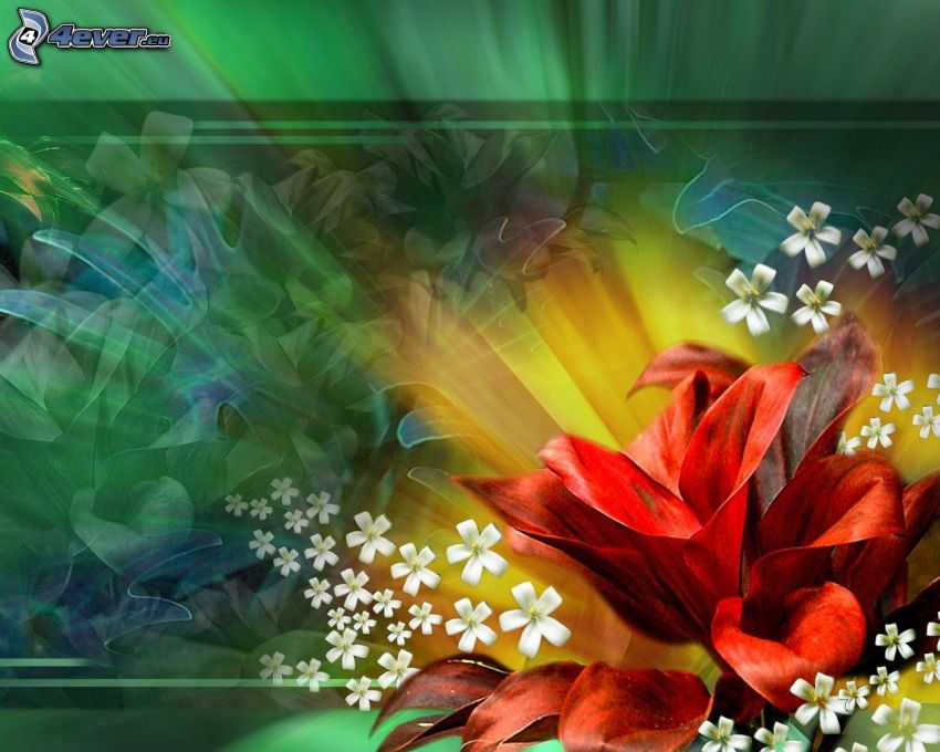 red flowers, white flowers, green background