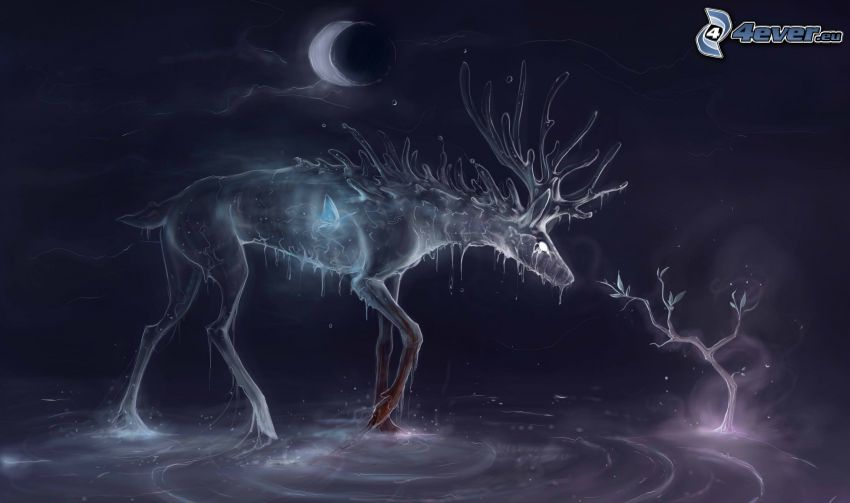 reindeer, tree, moon, night