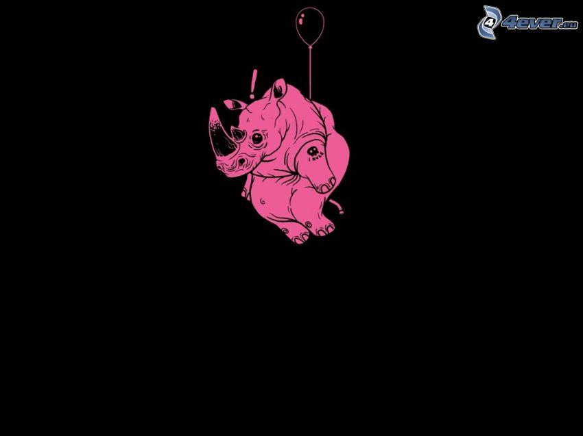 rhino, balloon