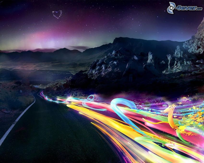 road, abstract, rocky mountains, heart, starry sky