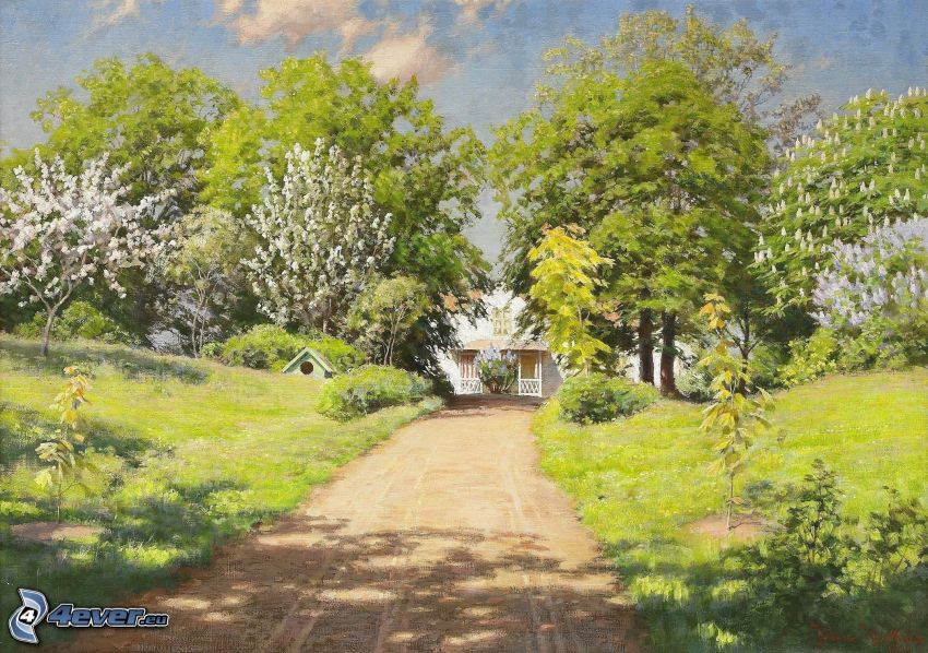 road, trees, house, painting