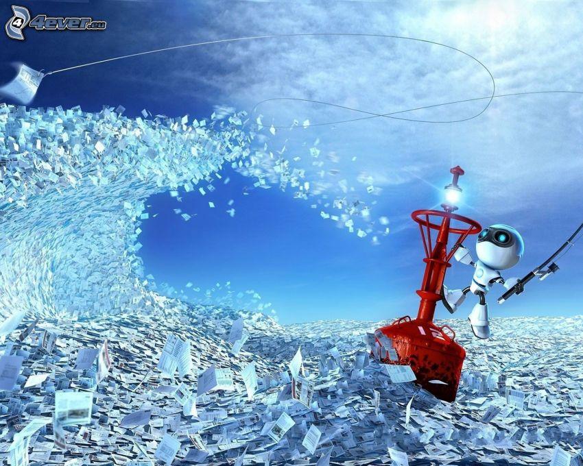 robot, letters, wave, buoy