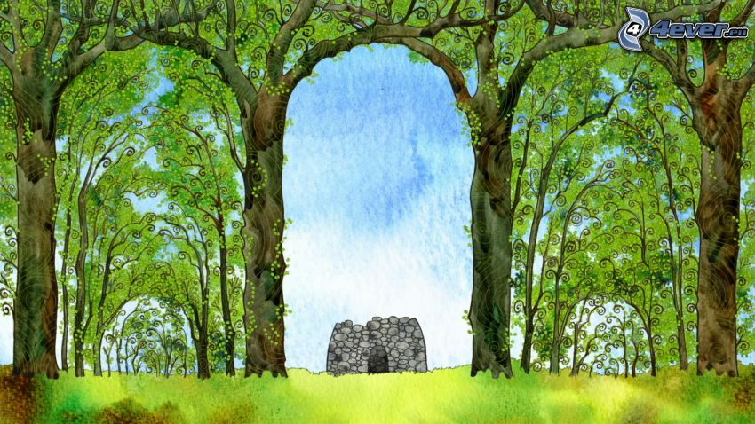 rocks, wall, forest