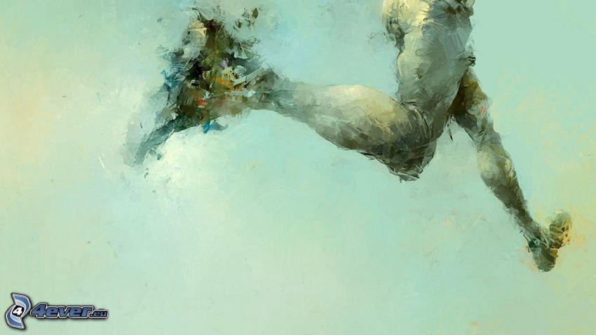 running, legs, oil painting