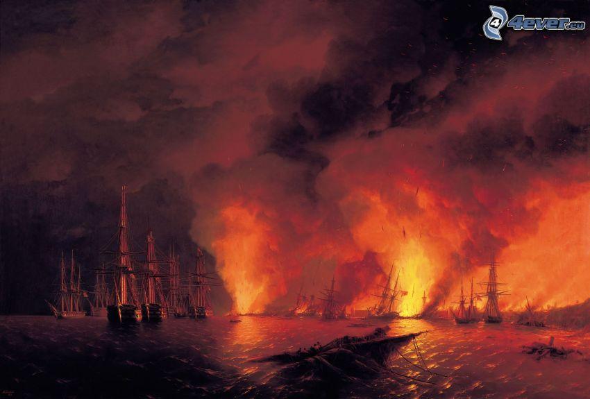 sailboats, fire, sea, night