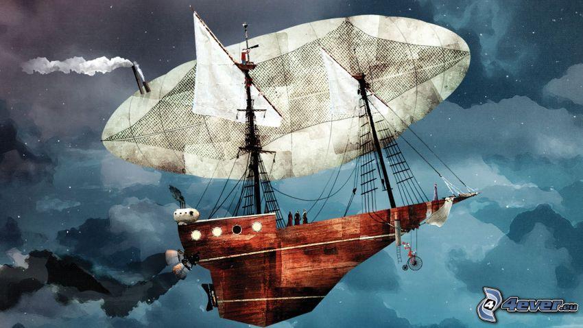 sailing boat, airship