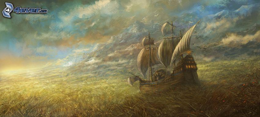 sailing boat, field, clouds