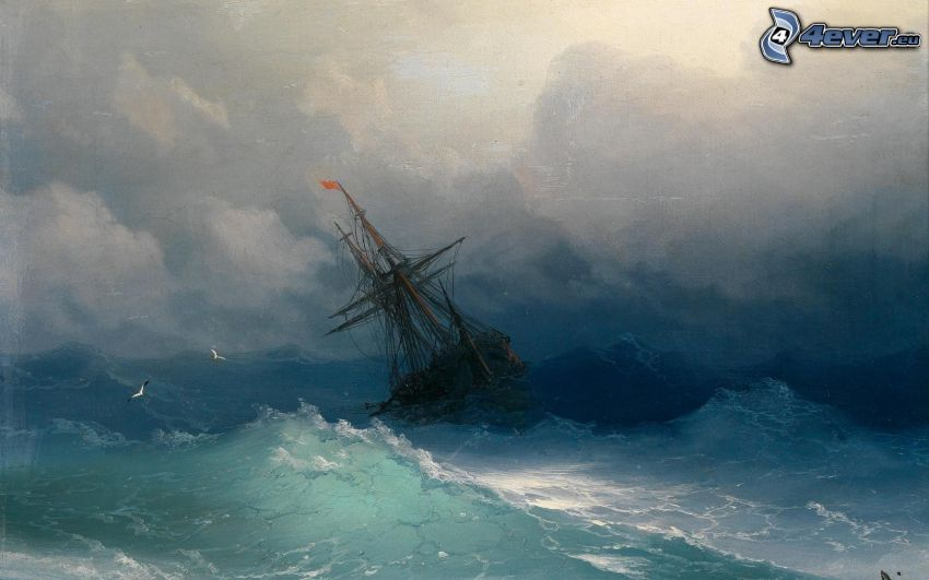 sailing boat, rough sea, ship