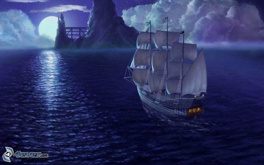 sailing boat, sea, night