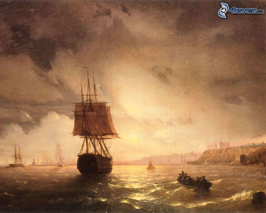 sailing boat, ships, sea