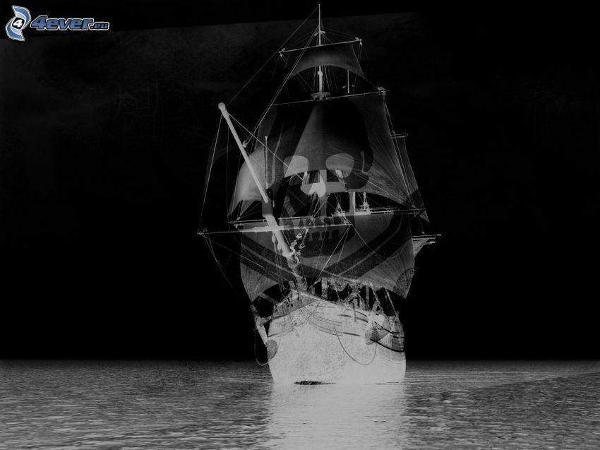 sailing boat, skull, sea