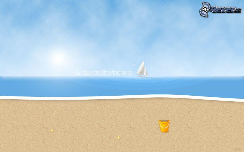 sandy beach, bucket, cartoon sailboat, sea, text