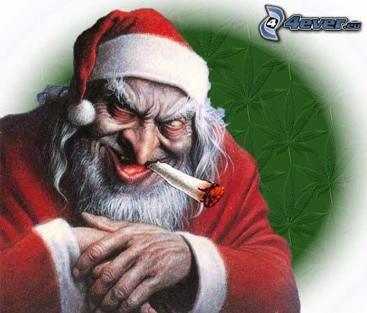 Santa Claus, monster, cigarette