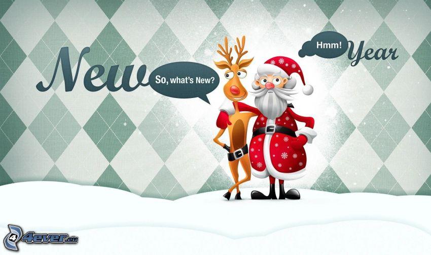 Santa Claus, reindeer, text, snow