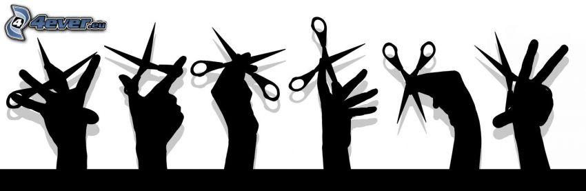 scissors, hands, silhouette