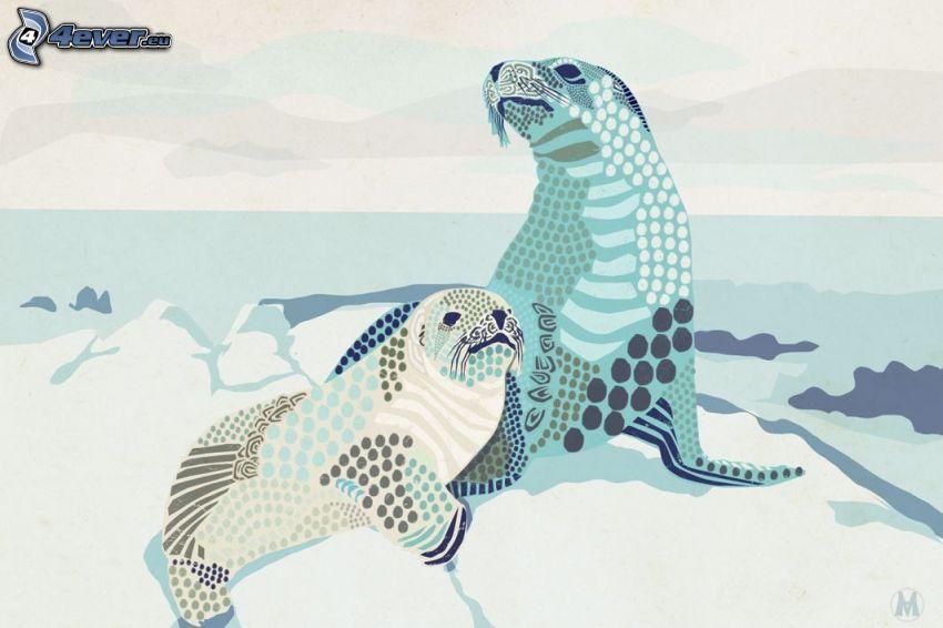 seals, ice, winter
