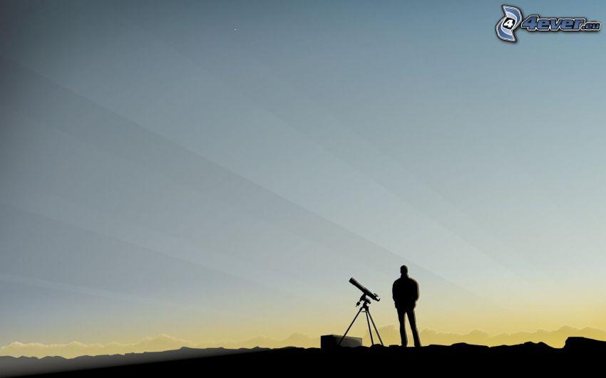 silhouette of a man, telescope