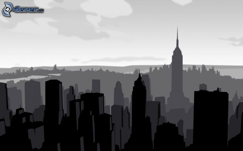 silhouette of the city, Manhattan, Empire State Building