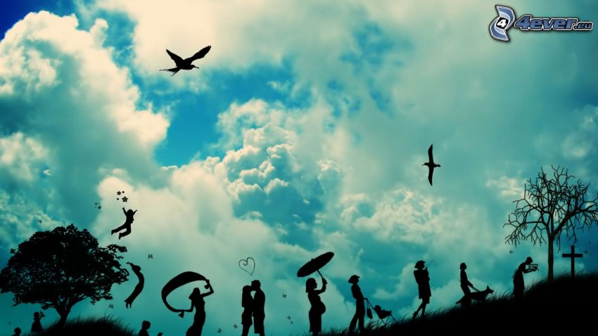 silhouettes of people, clouds