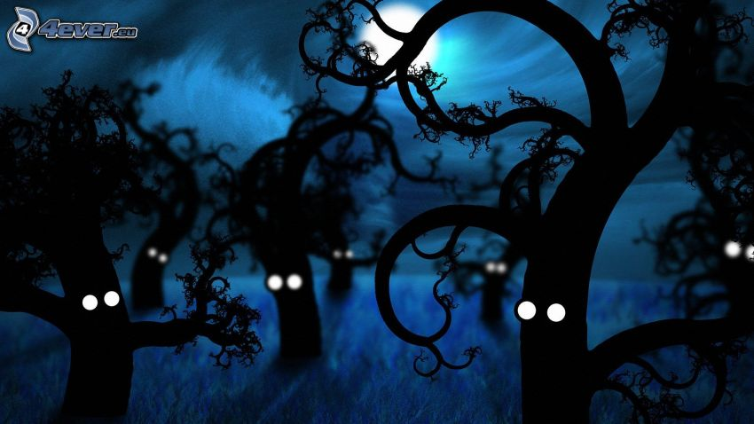 silhouettes of the trees, night, eyes