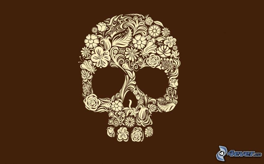 skull, cartoon flowers