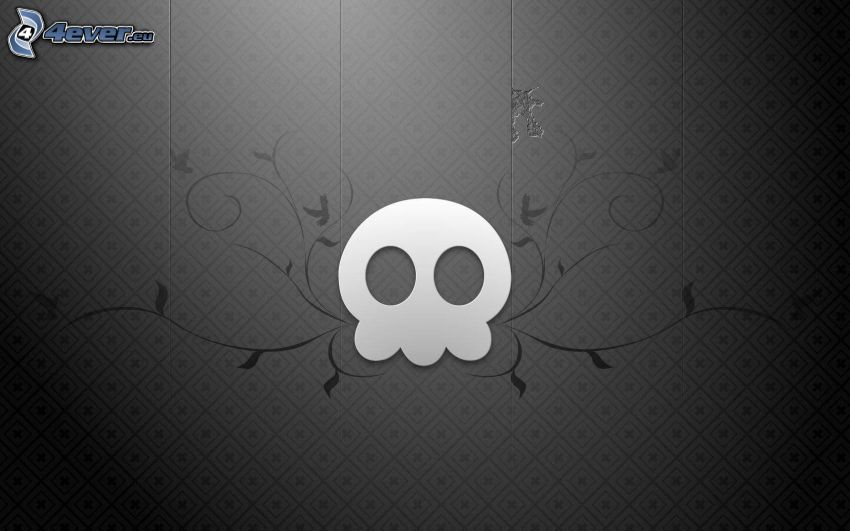skull, gray background, butterflies