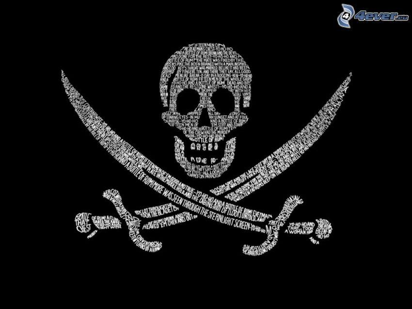 skull, swords